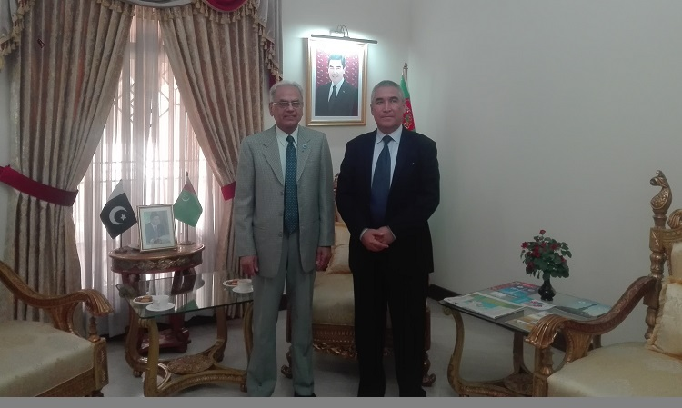 H.E. Mr. Atadjan Movlamov, the Ambassador of Turkmenistan to Pakistan (R) welcomed the President ECOSF at the Embassy. The programmes of the Foundation in ECO region were discussed in the meeting(26-10-2018)