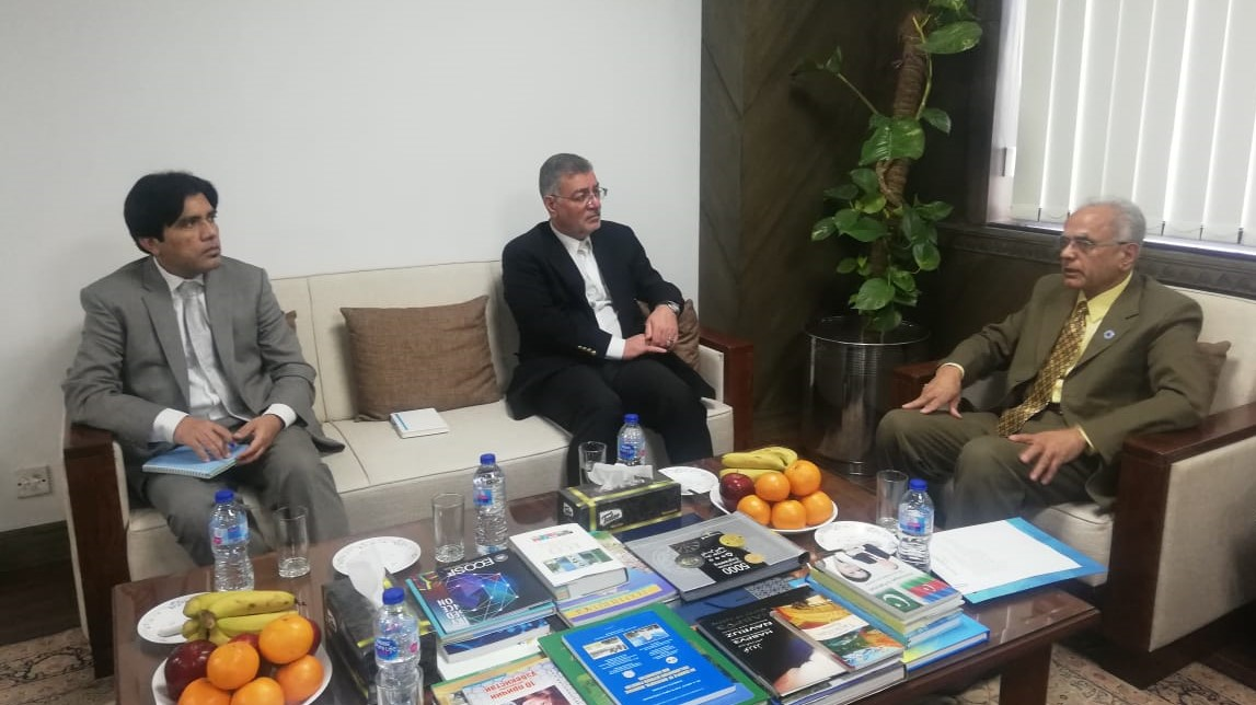 The Secretary General of ECO H.E. Dr. Hadi Soleimanpour (C) is apprised about the activities of ECOSF (R) by President ECOSF during his maiden visit to ECOSF Secretariat (Mar 15, 2019)